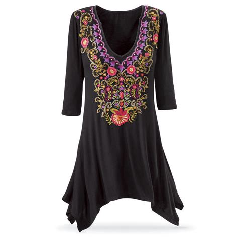 Pyramid Tunic Dress embroidered black tunic women s from the pyramid collection