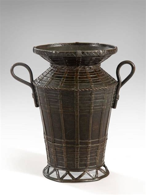 a japanese bronze basket vase with handles for sale at 1stdibs