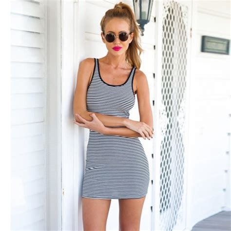 Striped Sleeveless Bodycon Dress striped sleeveless bodycon mini dress from opal apparel