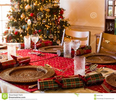 english christmas table with crackers stock photo image
