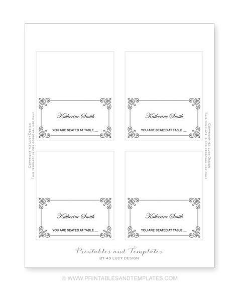 Place Card Template 6 Per Page by Place Card Templates Search Results Calendar 2015