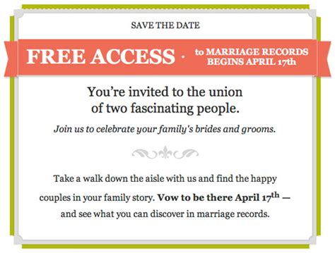 Marriage Records For Free Free Marriage Records At Ancestry April 17 2013 Genealogyblog