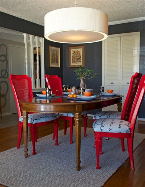 Painted Dining Room Chairs Diy Ideas Spray Paint And Reupholster Your Dining Room Chairs Eclectic Dining Room Dallas