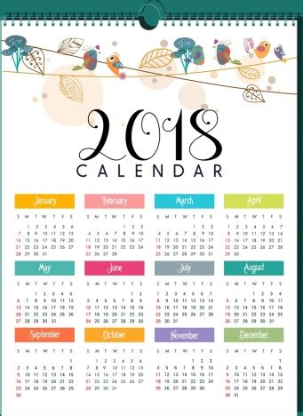 printable calendar 2018 decorative 2018 calendar template natural bird leaves decor vectors