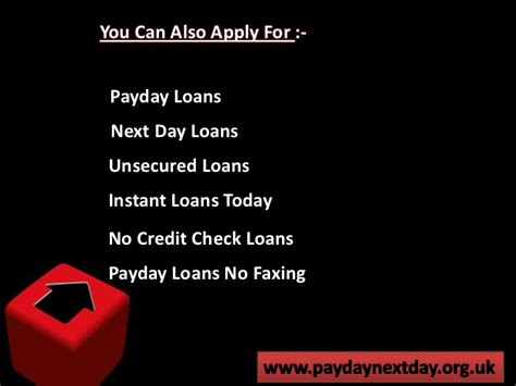 Payday Loans Today No Credit Check by Payday Next Day Unsecured No Credit Check Payday Loans No Faxing
