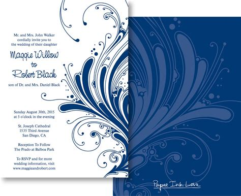 Blank Invitation Cards Templates Blue Blank Wedding Invitations Templates Blue Matik For