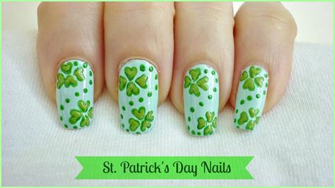 nail art leaf tutorial green nails with gold sting design saint patrick s day