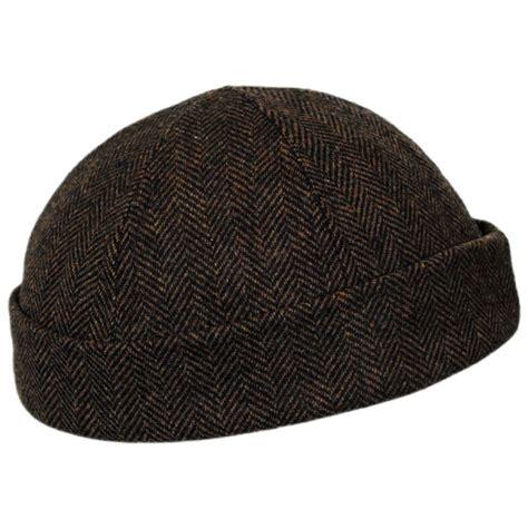 Wool Caps new york hat company six panel herringbone wool skull cap