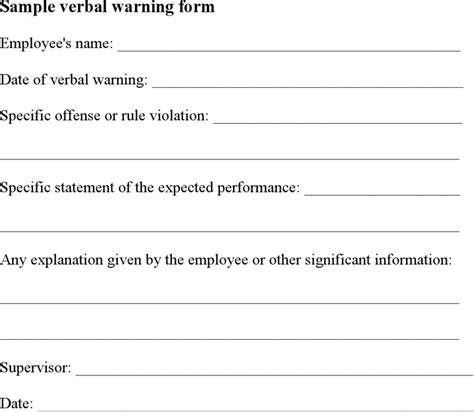 download sle verbal warning for free tidyform
