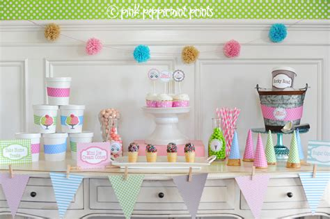 printable ice cream party decorations ice cream party ideas pink peppermint design