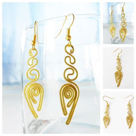 Handmade Jewelry Thailand - brass dangle earrings handcraft fashion designs handmade