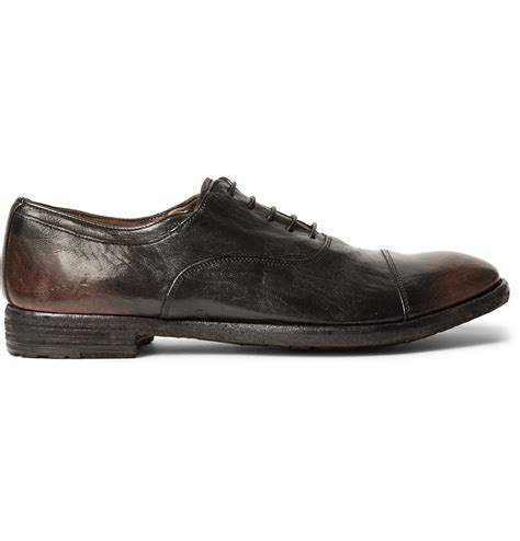 oxford shoes brown officine creative archive burnished leather oxford shoes
