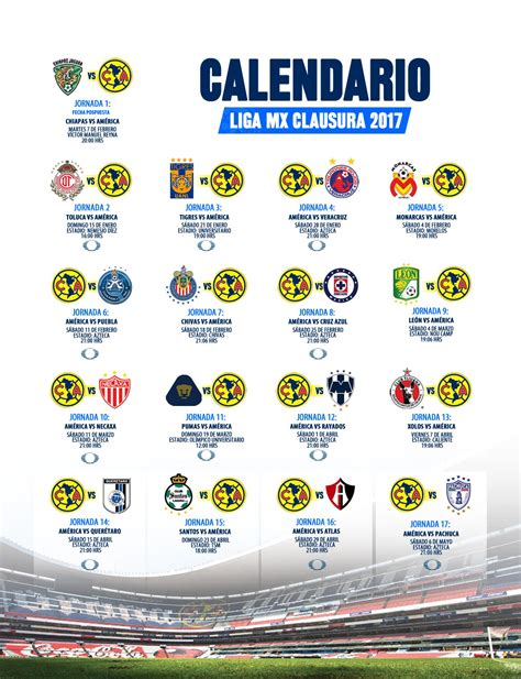 Calendario Liga Mx Club America Calendario Clausura 2017 Club Am 233 Rica Sitio Oficial