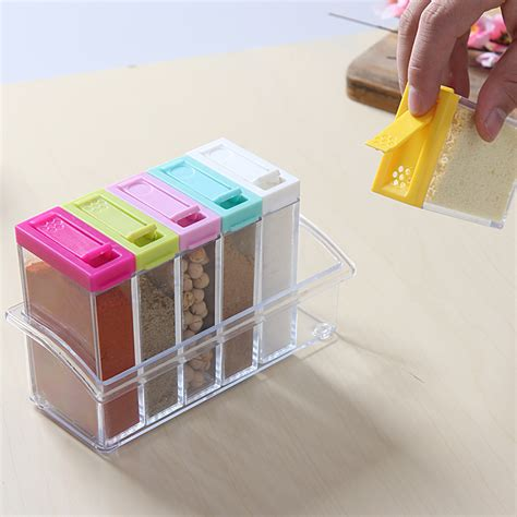 Storage Boxes Bottles Set A 6pcs set for spices storage box transparent spice jar set simple colorful lid seasoning box