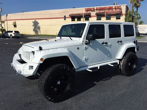 jeep wrangler unlimited white   hardtop leather florida bayshore automotive