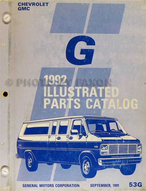 books about how cars work 1992 gmc rally wagon 2500 head up display 1992 chevrolet gmc g van parts book catalog beauville rally vandura chevy 92 ebay