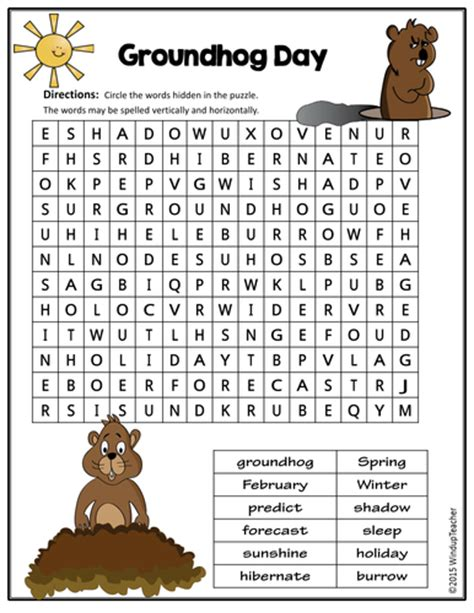printable word search groundhog day groundhog day word searches 2 levels by windupteacher