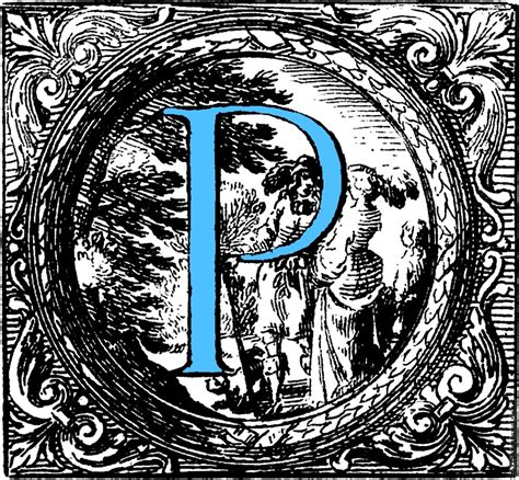 a p historiated decorative initial capital letter p in blue