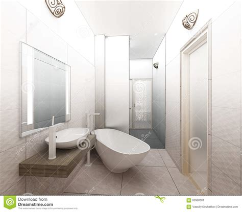 cozy bathroom with ceiling light 3d model cgstudio 3d rendering contemporary wood toilet with light from window royalty free stock image