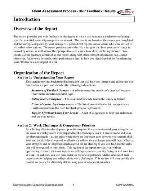 Sle 360 Feedback Report Gordon Curphy Phd Feedback Report Template