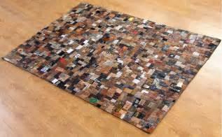 leder teppich label lederteppich 170x240cm braun teppiche