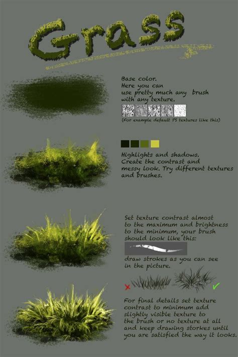 Tutorial Photoshop Grass | difference between texture and plain brush nthartyfievi