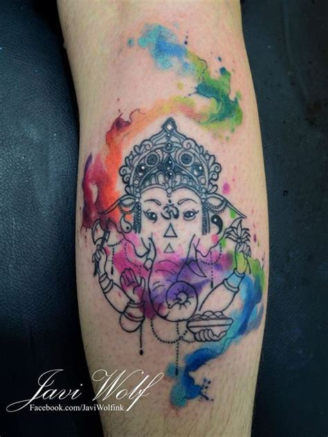 ganesha tattoo ribs watercolor ganesha tattoo tattooed by javiwolfink www