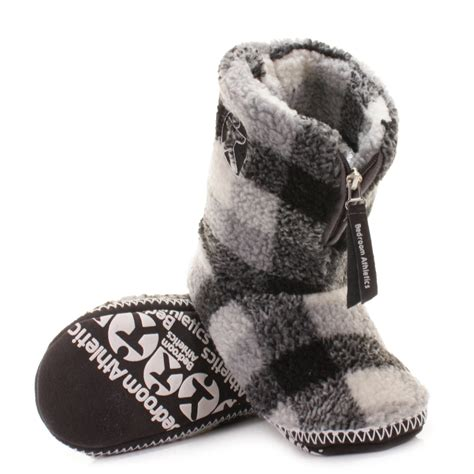 bedroom slipper boots mens bedroom athletics mcqueen fleece grey white fleece
