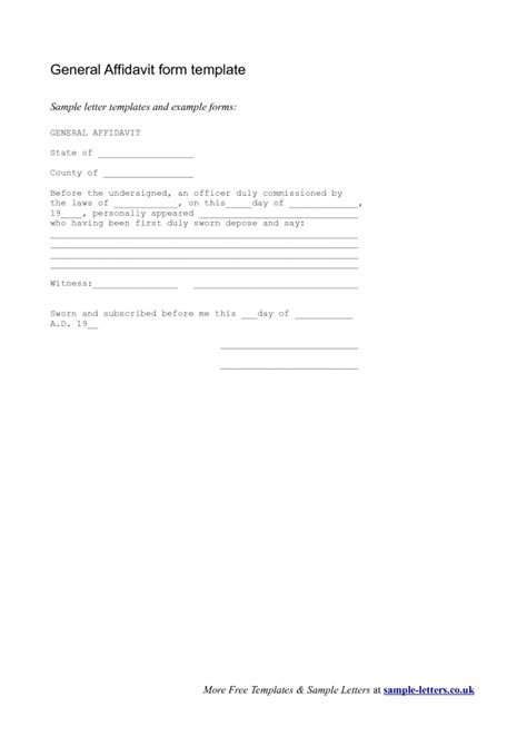 simple affidavit form template exle with sworn date and