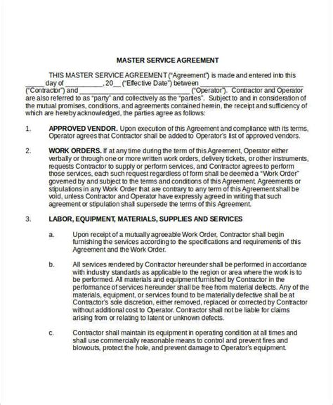 Master Service Agreement Template by Service Agreement Template 10 Free Word Pdf Documents