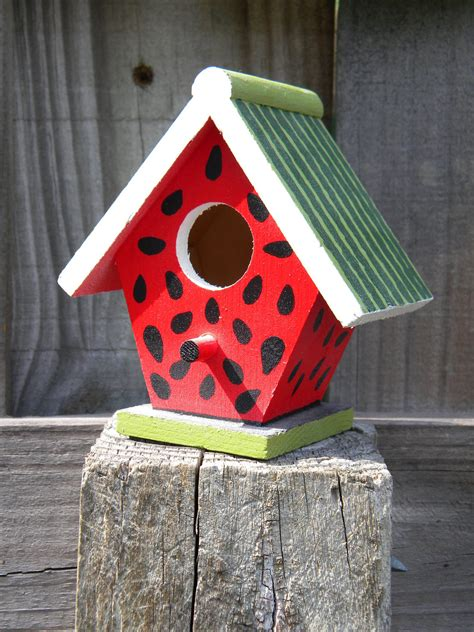 Decorative Birdhouses by Small Decorative Handpainted Bird House Summer Watermelon