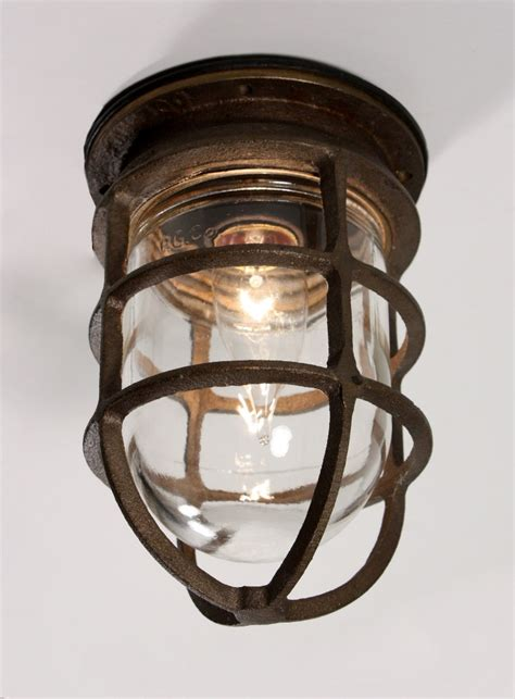 Cage Light Fixture by Antique Industrial Cast Bronze Cage Light Fixture With
