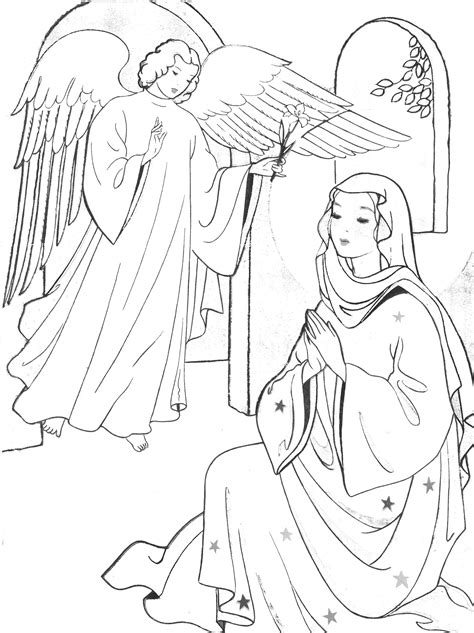coloring page of angel visiting mary annunciation and visitation coloring pages