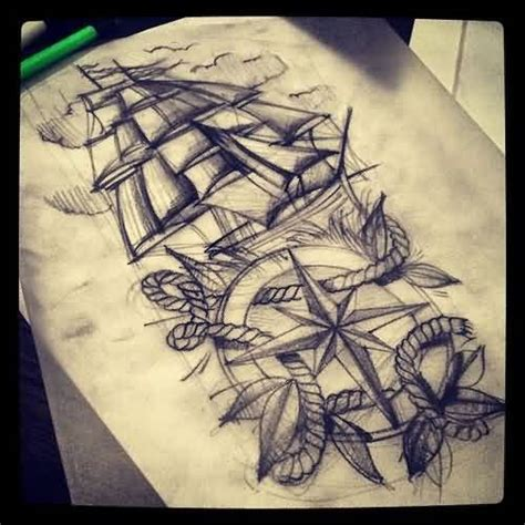boat drawing tattoo ship nautical compass and rope tattoo drawing tattoes