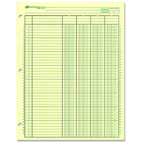 column paper template national brand analysis pad 6 columns green paper 11 x