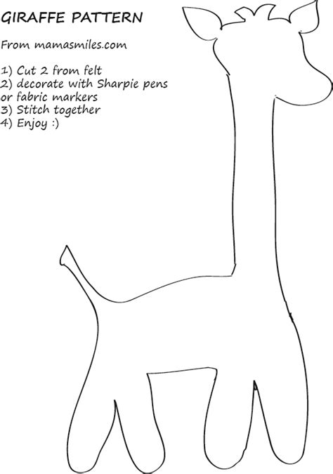 sew easy templates easy giraffe sewing pattern and giraffe coloring page