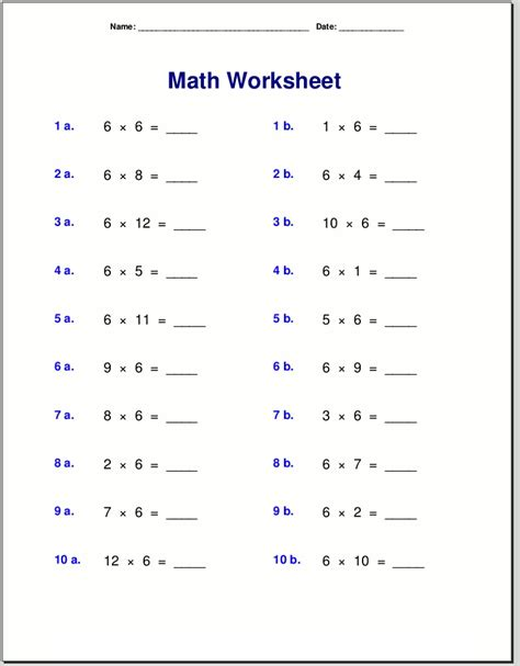 6 times table worksheets to learn multiplication loving
