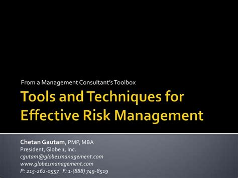 Mba Tools Techniques by Tools Techniques For Effective Risk Management V3 0