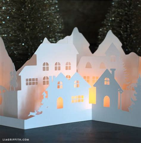 printable christmas village scene paper cut winter village for your holiday decorations