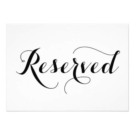reserved table sign template modern calligraphy reserved wedding sign card modern