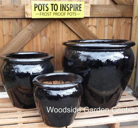 Large Black Outdoor Pots Large Pots And Large Black Glazed Pot Tree Garden
