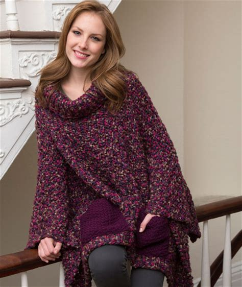 free knitting patterns for ponchos pocket poncho free knitting pattern from yarns