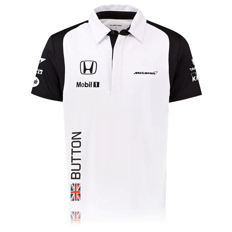 Kaos Polo Honda Racing Team mclaren honda jenson button team sleeve polo shirt top white mens ebay