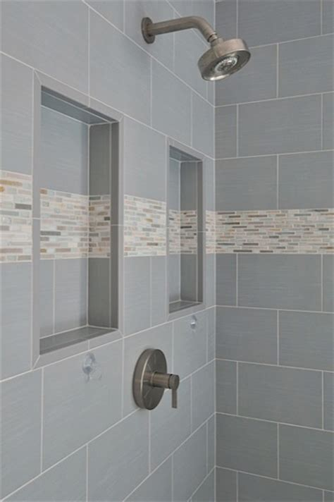 niche bathroom shower shower niche with detail stripe bathroom ideas pinterest
