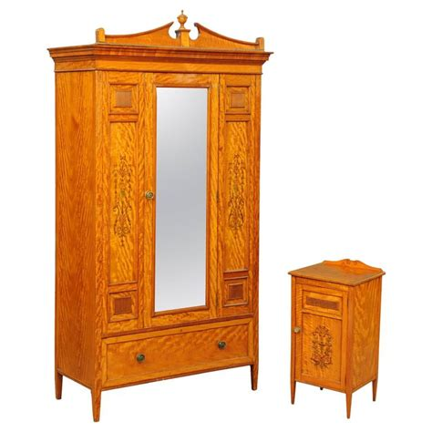 Wardrobe And Cabinet Gillows Of Lancaster Satinwood Wardrobe And Bedside