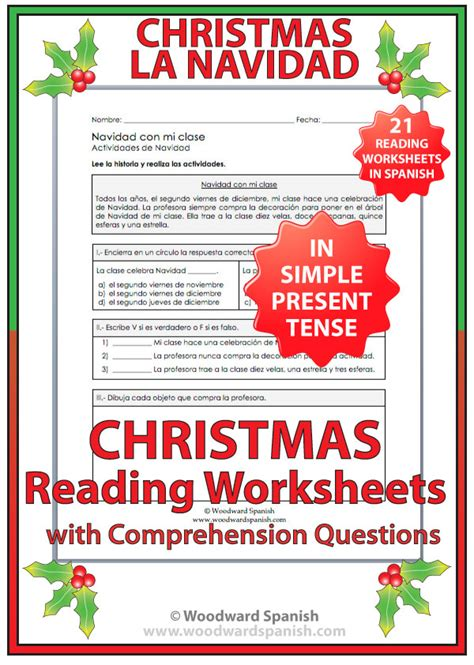 reading comprehension test in spanish christmas reading comprehension worksheets in spanish