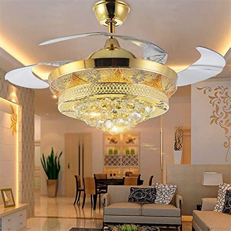 42 inch fan lights living room bedroom ceiling fans light colorled modern crystal gold ceiling fan light kit for