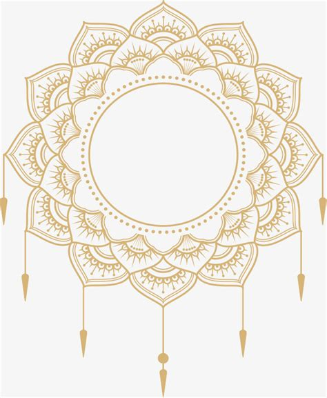 european style gold frame pattern vector gold mandala title box vector png european style