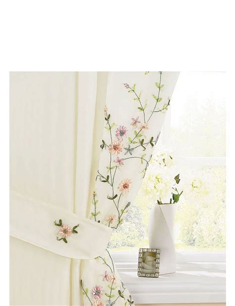 Floral Lined Curtains with Floral Trail Embroidered Lined Voile Curtains Home Textiles