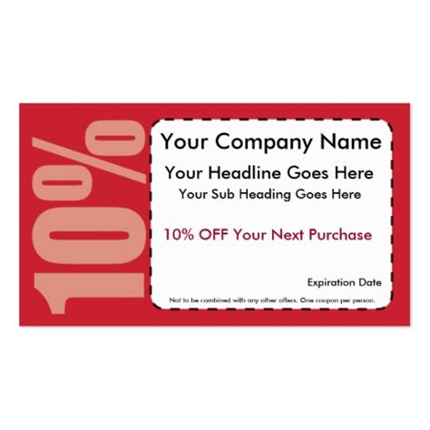 Groupon Gift Card Discount - 10 off coupon double sided standard business cards pack of 100 zazzle